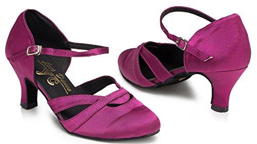 Abby YFYC-L152 Womens Latin Tango Ballroom Kitten Heel Satin Dance Shoes Pink 6rCfkSblb