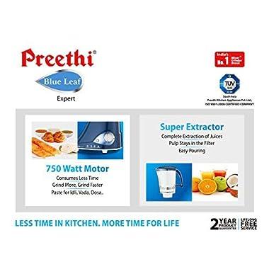 Preethi MG214 Blue Leaf Expert Mixer Grinder, 750W, 3 jars with Master Chef Jar 10