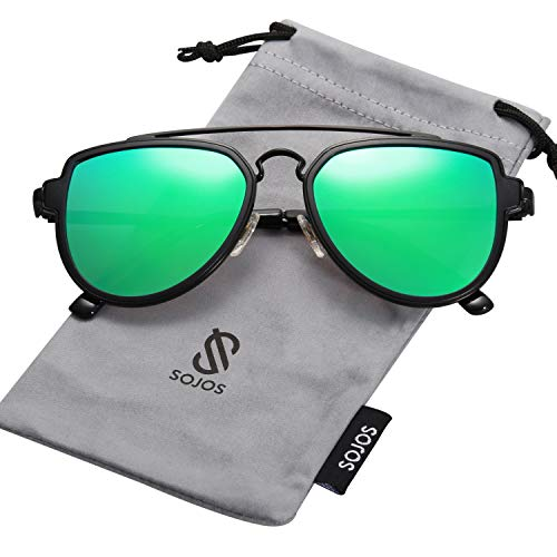 SOJOS Fashion Polarized Aviator Sunglasses for Men Women Mirrored Lens SJ1051 with Black Frame/Green Mirrored Polarized Lens