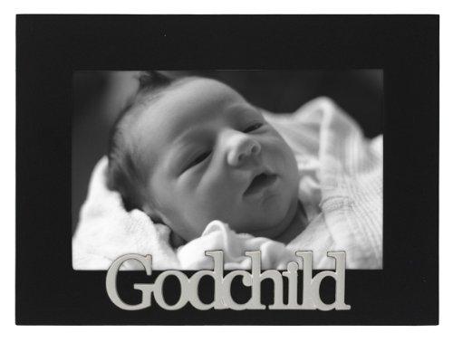 Malden International Designs Baby Memories Godchild Black Wood Picture Frame, 4x6, Black (Godparent Picture Frame)