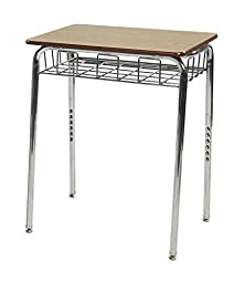 ECR4Kids Classroom Student Open Front Desk with Chrome Book Basket, Oak (2-Pack)