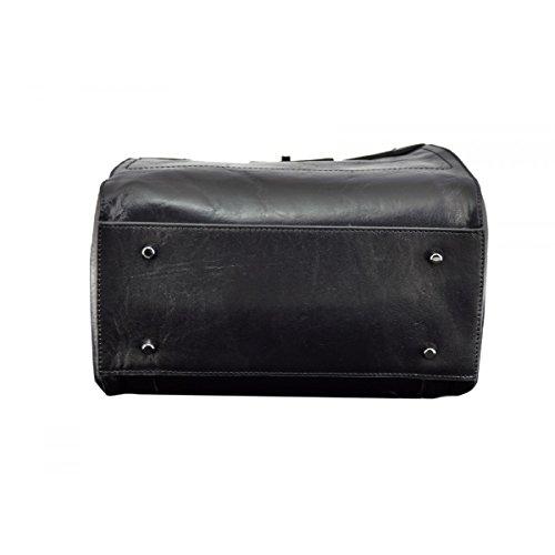 Damen Rucksack Aus Echtem Leder Mit 3 Abteilen Farbe Schwarz - Italienische Lederwaren - Rucksack