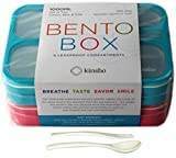 6 Compartment Lunch Boxes. Bento Box Lunchbox Containers for Kids, Adult. BPA-Free Dishwasher & Microwave Safe School Bentobox or Meal Planning Portion Container. Leakproof. Set of 2 Blue & Pink Kits.