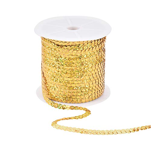 (PH PandaHall 6mm Wide 100yards AB-Color Flat Spangle Paillette Sequin Trim Spool String Beads for Dress Embellish Headband Costume, Gold)