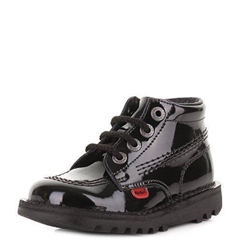 Kickers Kick Hi Infant Girls Black Lace Patent Casual Up Leather, Damen Stiefel