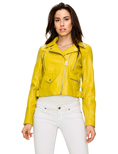 Lock and Love WJC1852 Womens Faux Leather Motorcycle Biker Jacket L Lime ()