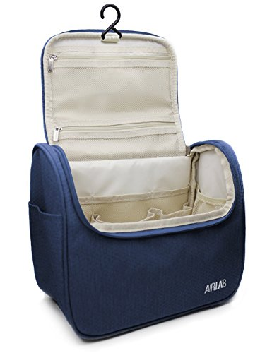 Travel Hanging Toiletry Bag for men and women, Airlab Large Toiletries Organizer, Make up, Cosmetic bag with Handle and Hook, Travel Organizer, Navy