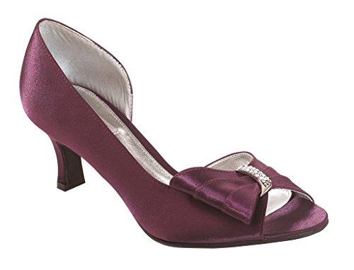 Ladies Lexus Comfort Fit Court Shoe with Elegant Diamante Design Plum PrECsP