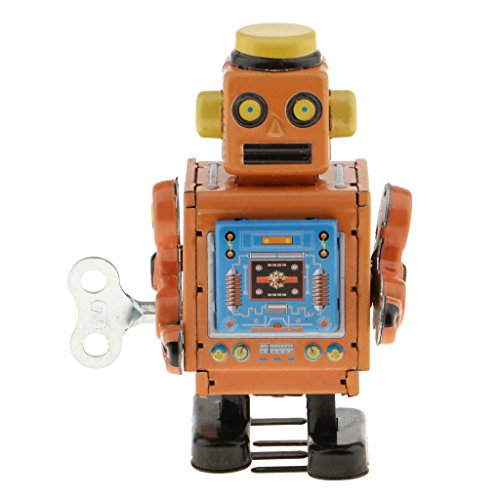 DYNWAVE Classic Tin Toy - Wind Up Robot Walking Mechanical Crafts - Clockwork Tin Robot Action Figures Toy- Party Favors Desk Novelty -Yellow
