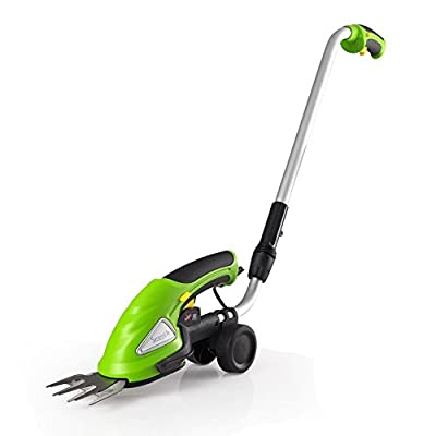 SereneLife Cordless Push Grass Cutter Shears, Wheeled Electric Hedge Shrubber Trimmer, 3.6V Rechargeable Battery (PSLGTM30)