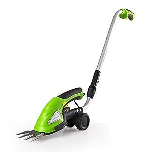 Serene Life Cordless Push Grass Cutter Shears, Wheeled Electric Hedge Shrubber Trimmer (PSLGTM30)