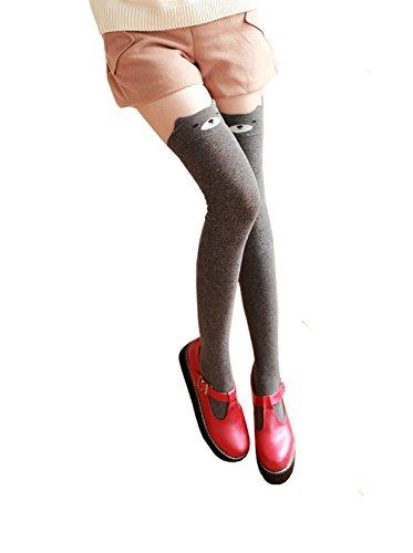 Bear Knee High Socks - Geoot Women Cute 3d Cartoon Animal Pattern Thigh Stockings Over Knee High Socks (Gray Bear)