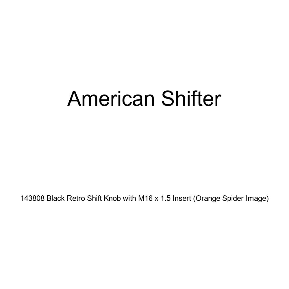 American Shifter 143808 Black Retro Shift Knob with M16 x 1.5 Insert Orange Spider Image