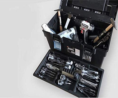 CHUNSHENN ツールボックス 工具箱 適するのホームアウトドア修復ツールストレージボックス、多機能ブラック、サイズ40 * 18 * 18センチ(カラー:ブラック、サイズ:40 * 18 * 18センチ)