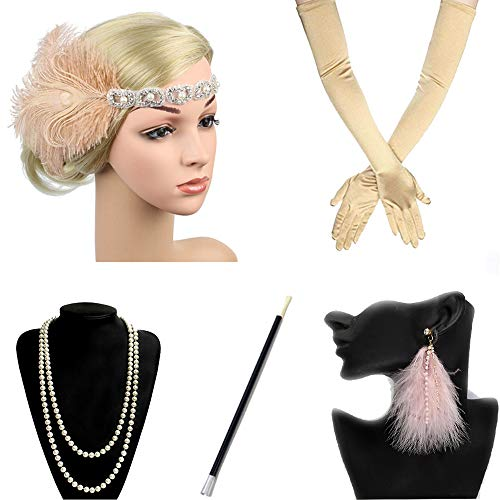 1920s Flapper Costume Accessories Women Set Headband Earrings Pearl Necklace Cigarette Holder Gloves Perfect For Prom Party Pink Feather Headbands
