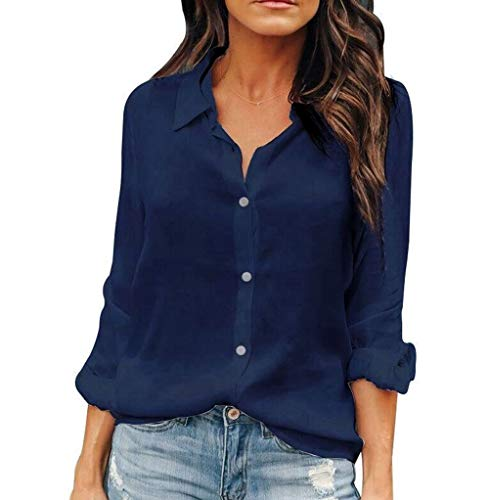 (OMSJ Womens Button Down Shirts Long Sleeve Chiffon Office Casual Blouses (S, Dark Blue))