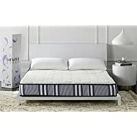 Safavieh Dream Collection Tranquility White and Navy Spring Mattress, 8-Inch (Full)