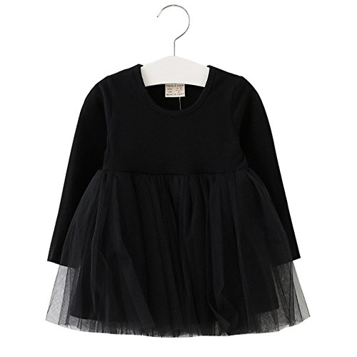 XUNYU Baby Girls Toddler Tutu Dress Long Sleeve Pink Infant Children Clothes Party Wear Pleated Tops]()