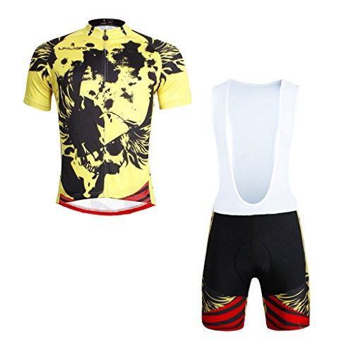 paladinsport-skull-pattern-mens-yellow-short-sleeve-bike-apparel-and-bib-shorts-set-size-xxxl