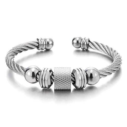 - COOLSTEELANDBEYOND Steel Twisted Cable Cuff Bangle Bracelet for Men Women with Beads Charms, Polished, Adjustable