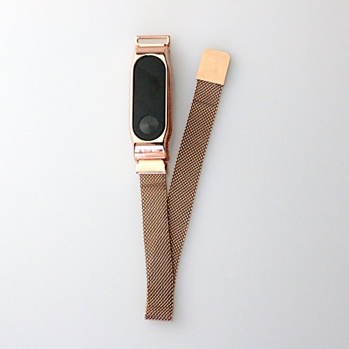 UFREE Luxury Metal Wristband Magnetic Replacement Strap For Classic XiaoMi Band 2(No Tracker Mesh Rose)