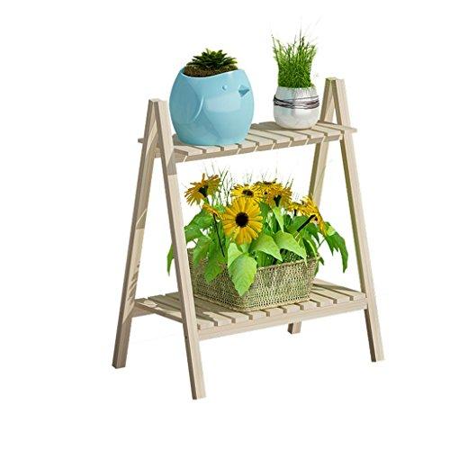 Foldable Pine Wooden Flower Display Rack, Indoor Flower Stand, 2-Tier Retro Plant Stairs for Garden/Indoor/Outdoor/Balcony Flower Shelves (Color : Wood color)