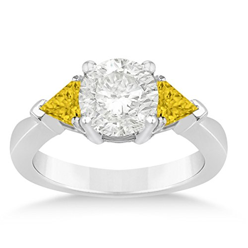 Allurez Yellow Sapphire Three Stone Trilliant Engagement Ring 14k White Gold (0.70ct)