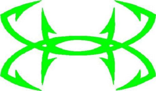 "Fish Hooks Under Armour-like Sticker Decal 6"" X 3"" iguana green"