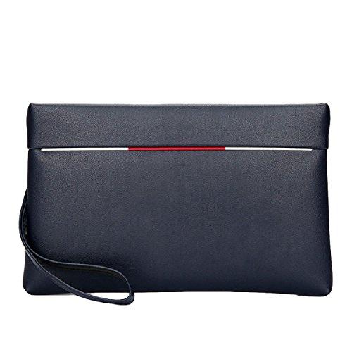Bolso De Mano De Los Hombres Bolsa De Mano De Cuero Suave De Gran Capacidad Mano - Agarrar El Paquete Paquete De Paquete Casual De Teléfono Móvil Simple Paquete Blue