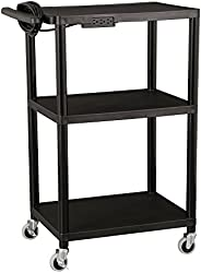 Norwood Commercial Furniture Adjustable-Height Mobile Black Plastic Utility AV Cart with Power Strip, NOR-OUG1