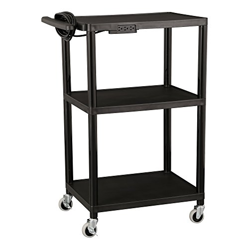 - Norwood Commercial Furniture Adjustable-Height Mobile Black Plastic Utility AV Cart with Power Strip, NOR-OUG1042-SO