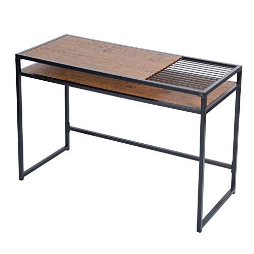 GreenForest Computer Desk 43.3 Modern Style Study Writing Desk Workstation with Extra Storage for Home Office, Walnut