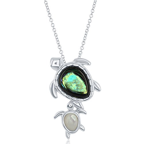 Sterling Silver High Polish Natural Abalone Turtle and Mother of Pearl Baby Turtle 16+2