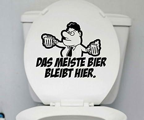 WC Deckel Bier Aufkleber Toilette lustig Spruch Badezimmer Bad Sticker 1K182 Farbe:Azurblau glanz