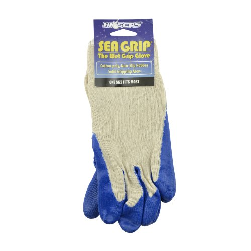 Hi-Seas Sea Grip Non-Slip Gloves, Large Size, White and Blue Color - Hi Seas Sea Grip