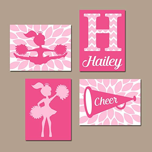 (Cheerleader Wall Art Canvas or Prints Pink Girl Bedroom Wall Decor Cheer Sign Megaphone Personalized Girl Name Nursery Decor Set of 4 8x10)