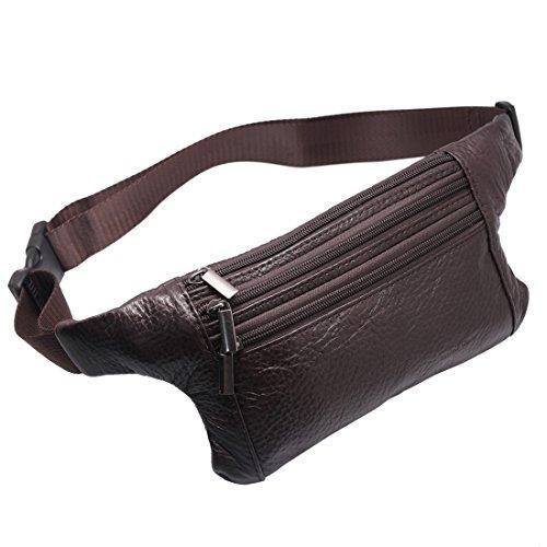 Bag Extra Leather Large Stick - Vidlea Triple Pocket fanny pack Genuine Leather waist bag slim shoulder bag Hip Purse Adjustable Belt strap Casual Pouch Outdoor Day bag (Brown)