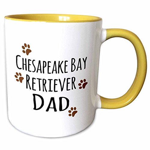 Retriever Bay Prints Chesapeake - 3dRose InspirationzStore Pet designs - Chesapeake Bay Retriever Dog Dad - Doggie by breed - brown muddy paw prints - doggy lover pet owner - 15oz Two-Tone Yellow Mug (mug_153884_13)