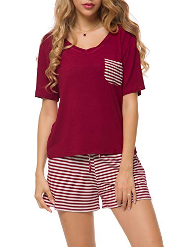 Invug Women Short Sleeve Pajama Set Striped Nightwear Shirt V Neck Sleepwear Red XL
