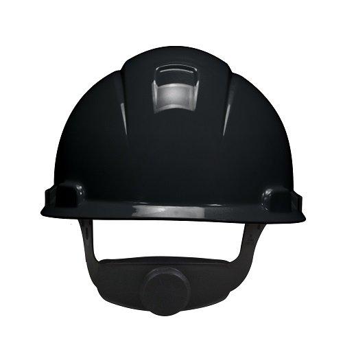 3M Hard Hat with 4-point Ratchet Suspension H-712R, Adjustable, Black (Pack of 20)