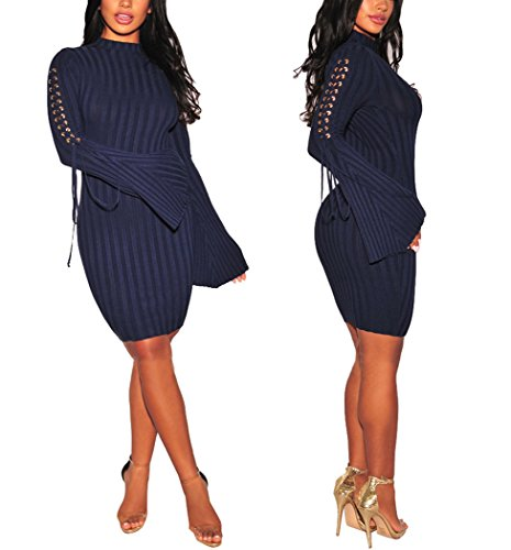 Sexycherry Womens Long Sleeve Casual Work Business Party Stretchable Elasticity Slim Fit Sweater Dress by sexycherry (Image #6)