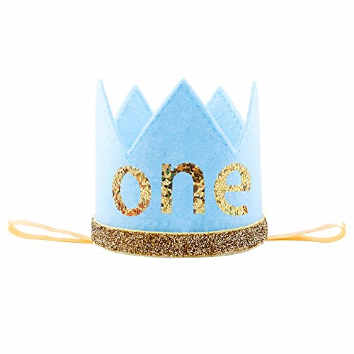 iMagitek Baby Prince Birthday Crown Tiara Headbands, Baby Boys First Birthday Party Hairband Hat (Boys 1st Birthday Party Hat)