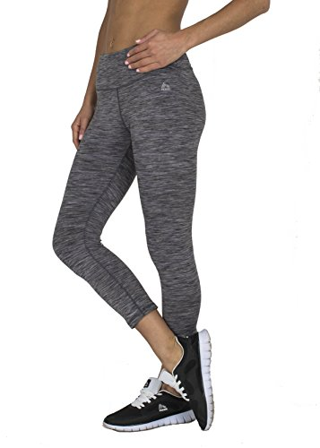 RBX Active Women's Knee Length Printed Space Dye Yoga Peached Leggings Grey Speckled Medium (Mustache Spandex Sheer Pantyhose)