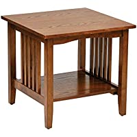 Envision The Mature Yet Down-Home Styled Sierra Mission End Medium Oak Table
