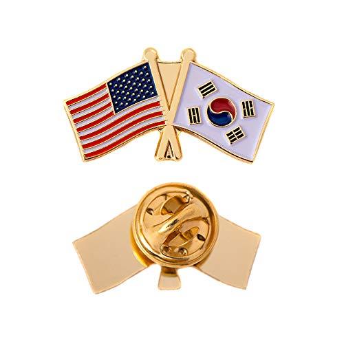 Korea Lapel Pin - South Korea Country Double Flag Lapel Pin Enamel with United States USA US Souvenir Hat Men Women Patriotic Korean (Double Flag Pin)