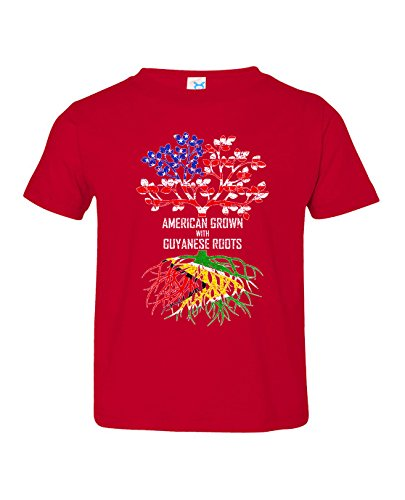 Tenacitee Toddler's American Grown with Guyanese Roots T-Shirt, 3T, Red from Tenacitee