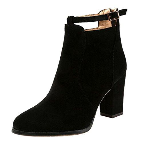 Women's Block Black Binying Heel Chelsea Zip Round Toe Buckle Boots dwq1qCp