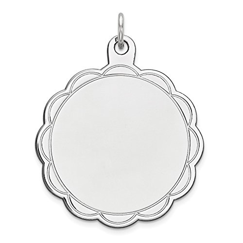 .925 Sterling Silver Engravable Fancy Disc Charm Pendant