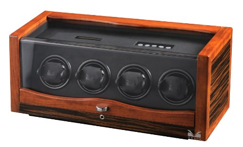 Volta 31-560042 Rustic Rosewood and Ebony Wood Watch Winder Del Tempo Leather Watch Winder