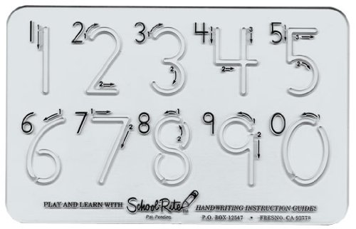 School-Rite Number Templates, Plastic Writing Aide Number Stencil Set, Basic Number Set (Handwriting Kit)